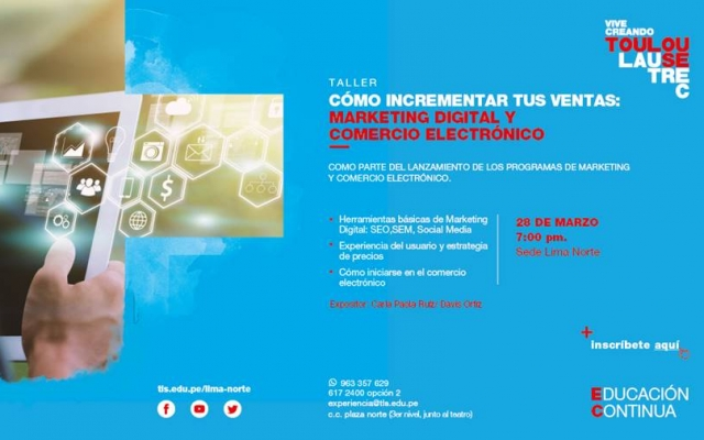 TOULOUSE LAUTREC OFRECERÁ TALLER GRATUITO DE MARKETING DIGITAL Y COMERCIO ELECTRÓNICO EN LIMA NORTE